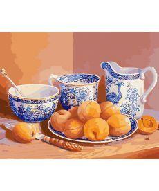 Картина по номерам Натюрморт с абрикосами и старинным сервизом 40 х 50 см (KHO5512)