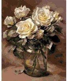 Картина по номерам Белые розы в банке 40 х 50 см (MR-Q1068)