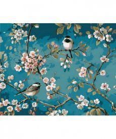 Картина по номерам Синички на яблоне 40 х 50 см (MR-Q1083)