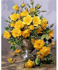 Картина по номерам Желтые розы в серебряной вазе 40 х 50 см (MR-Q1118)