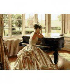 Картина по номерам Девушка у рояля 40 х 50 см (MR-Q1270)