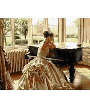 Картина по номерам Девушка у рояля 40 х 50 см (MR-Q1270)  - Фото 1