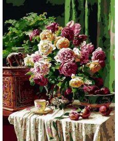 Картина по номерам Бордовые розы и гранаты 40 х 50 см (MR-Q1358)