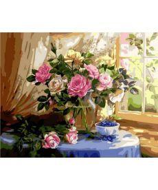 Картина по номерам Натюрморт с розами и черникой 40 х 50 см (MR-Q1433)