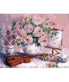 Картина по номерам Скрипка и розовый букет 40 х 50 см (MR-Q1535)