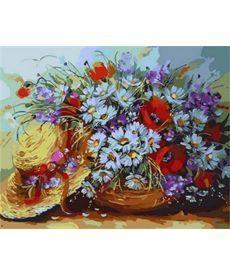 Картина по номерам Букет ромашек и шляпка 40 х 50 см (MR-Q1734)