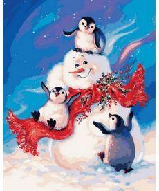 Картина по номерам Пингвинчики и снеговик 40 х 50 см (MR-Q2141)