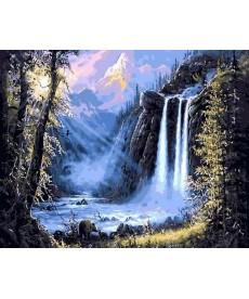 Картина по номерам Горный водопад 40 х 50 см (MR-Q493)