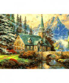 Картина по номерам Альпийский пейзаж. Часовня 40 х 50 см (MR-Q497)