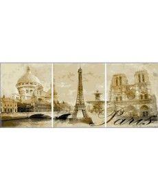 Картина по номерам Триптих. Париж  Триптих 50 х 90 см (MS14029)