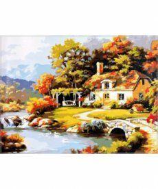 Картина по номерам Уютный дом у реки 40 х 50 см (MS612)
