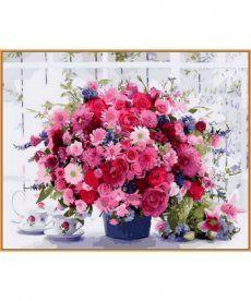 Картина по номерам Розовые хризантемы (в раме) 40 х 50 см (NB1233R)