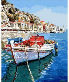Картина по номерам Лазурные воды Греции 40 х 50 см (NB831)