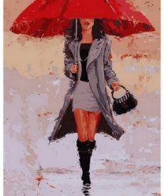 Картина по номерам Под красным зонтом 40 х 50 см (NB835)