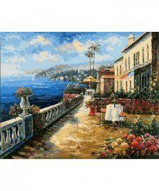 Картина по номерам Кафе с видом на море 40 х 50 см (NB863)