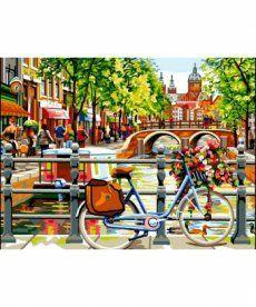 Картина по номерам Амстердам. На берегу канала 30 х 40 см (VK051)