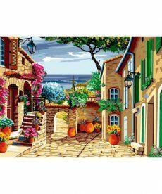 Картина по номерам Цветущий дворик 30 х 40 см (VK068)