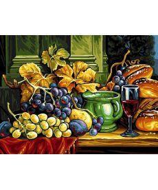 Картина по номерам Натюрморт с хлебом и виноградом 30 х 40 см (VK081)