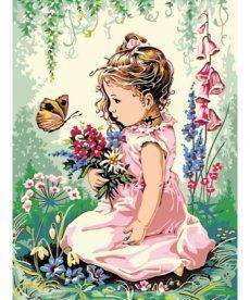 Картина по номерам Девочка и бабочка 30 х 40 см (VK134)