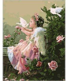 Картина по номерам Ангелочек с голубями 40 х 50 см (VP033)