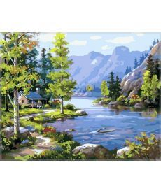 Картина по номерам Домик у ручья 40 х 50 см (VP220)