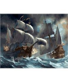 Картина по номерам Сражение кораблей во время шторма 40 х 50 см (VP257)