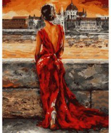 Картина по номерам Итальянка в красном 40 х 50 см (VP512)