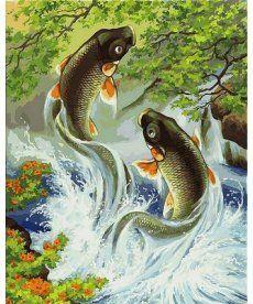 Картина по номерам Японские карпы 40 х 50 см (VP558)