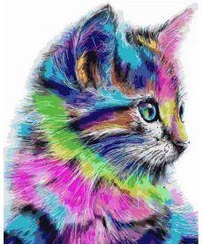 Картина по номерам Радужный котенок 40 х 50 см (VP625)