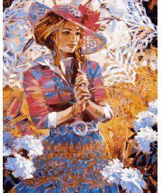 Картина по номерам Девушка с кружевным зонтиком 40 х 50 см (VP634)