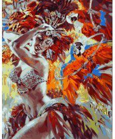 Картина по номерам Танцовщица и яркие попугаи 40 х 50 см (VP636)