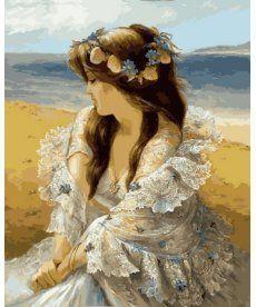 Картина по номерам Девушка в венке из ракушек 40 х 50 см (VP677)