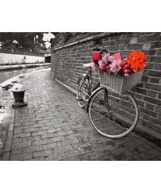 Картина по номерам Велосипед с цветочной корзиной 40 х 50 см (VP695)