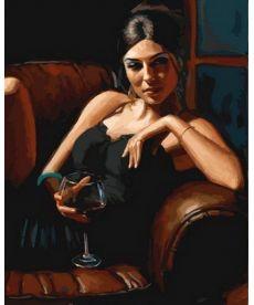 Картина по номерам Девушка с бокалом Каберне 40 х 50 см (VP891)