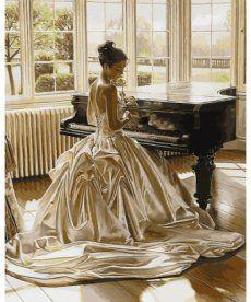 Картина по номерам Девушка у рояля 40 х 50 см (VP897)