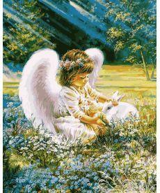 Картина по номерам Ангелочек с кроликом 40 х 50 см (VP900)