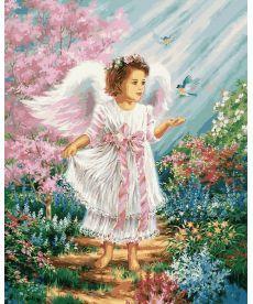 Картина по номерам Ангелочек в цветущем саду 40 х 50 см (VP901)