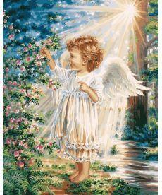 Картина по номерам Весенний ангелочек 40 х 50 см (VP903)