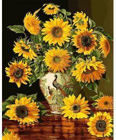Картина по номерам Подсолнухи в вазе с павлинами 40 х 50 см (VP946)