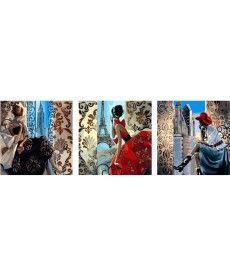 Картина по номерам Нью-Йорк. Париж. Сидней.  Триптих 50 х 150 см (VPT002)