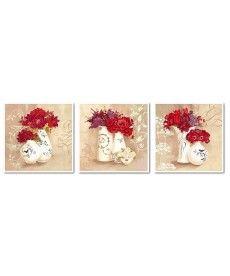 Картина по номерам Красные букеты Триптих 50 х 150 см (VPT004)