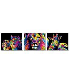 Картина по номерам Триптих. Радужные животные Триптих 40 х 150 см (VPT022)