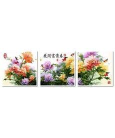 Картина по номерам Триптих. Японские хризантемы Триптих 50 х 150 см (VPT023)