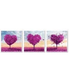 Картина по номерам Триптих. Деревья любви Триптих 50 х 150 см (VPT024)