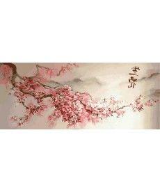 Картина по номерам Триптих. Ветка сакуры Триптих 50 х 120 см (VPT029)