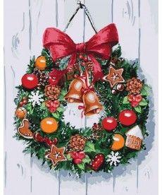 Картина по номерам Рождественский венок 40 х 50 см (KHO5534)
