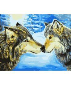 Картина по номерам Волки в зимнем лесу 40 х 50 см (BK-GX7194)