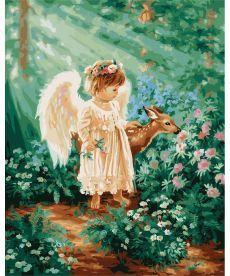 Картина по номерам Ангелочек в лесу 40 х 50 см (BK-GX21471)