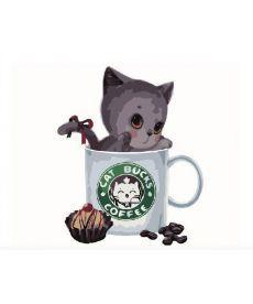 Картина по номерам Серый котик в кофейной чашке 40 х 50 см (BK-GX8398)