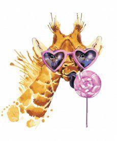 Картина по номерам Жираф с конфетой 40 х 40 см (AS0492)